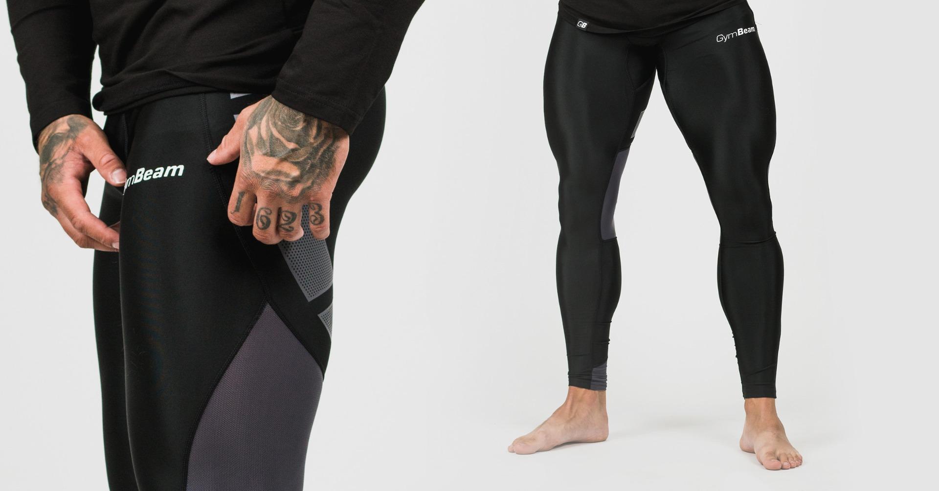 Pánske legíny Flex Tights Black Grey - GymBeam