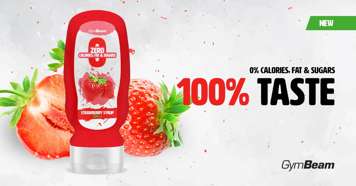 Bezkalorický jahodový sirup Strawberry Syrup gymbeam